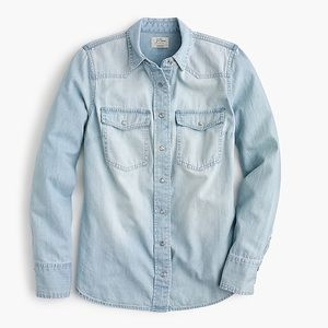 NEW J. Crew Light Wash Western Snap Button Shirt